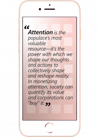 "Pull quote from the article. ""Attention is the populace's most valuable resource--it's the power with which we shape our thoughts and actions to collectively shape and reshape reality. In monetizing attention, society can quantify it's value and corporations can buy it."""