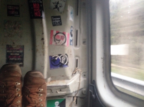 Jenny Stamps feet on train image