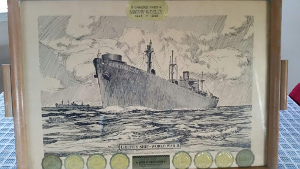 Picture of a lithograph of the WWII Beltrami ship