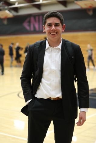 Standing on basketball court, Cameron Salerno